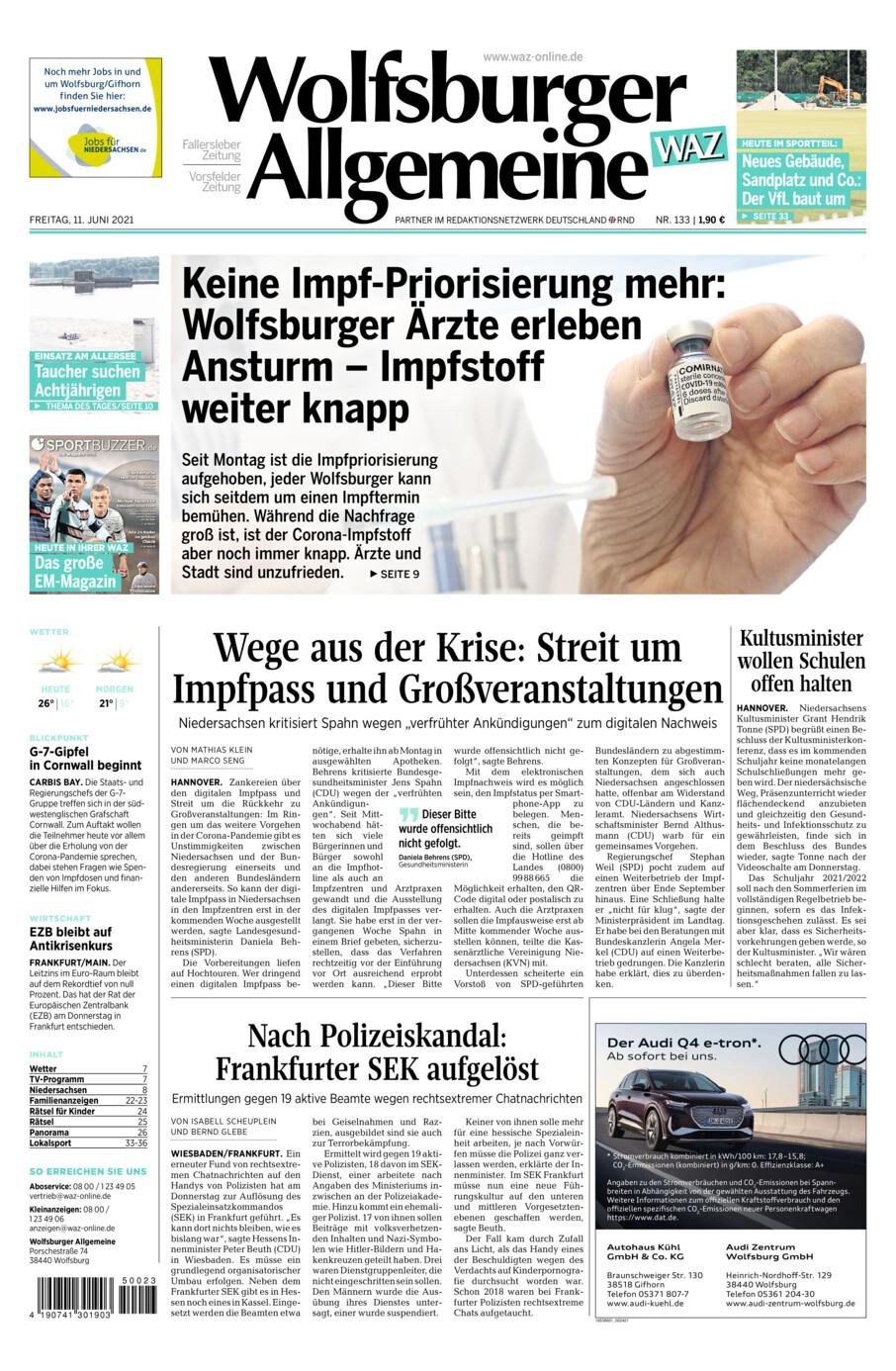 Wolfsburger Allgemeine Zeitung vom Freitag, 11.06.2021