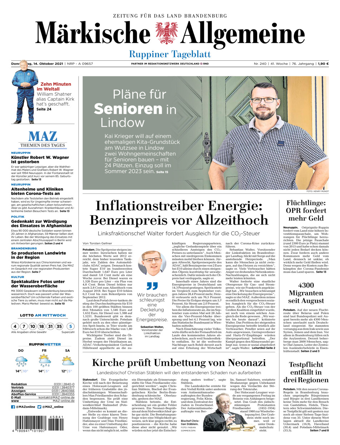 Ruppiner Tageblatt vom Donnerstag, 14.10.2021